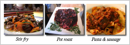 Images of venison in stir fry, as pot roast, and as sausage with pasta